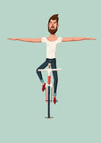 Hipster man riding a bike without holding the handlebars. Vector illustration. Stock Photo