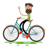 Hipster Man Riding Retro Bike Stock Images