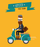 Hipster man is riding scooter. Royalty Free Stock Photography