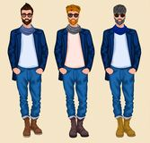 Hipster man set Royalty Free Stock Photos