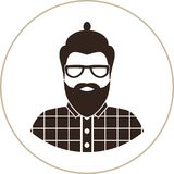 Hipster man silhouette, flat icon - a man with glasses, mustache and beard, wearing an in a plaid shirt. Royalty Free Stock Photography