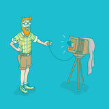 Hipster man taking a cool vintage selfie picture or photography Royalty Free Stock Image