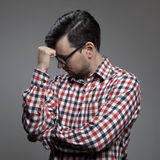 Hipster man thinking. Royalty Free Stock Images