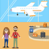 Hipster man travel with airplane Stock Photos