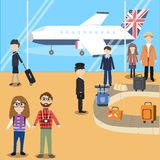 Hipster man travel with airplane in England Royalty Free Stock Photos