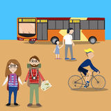 Hipster man travel with public bus Royalty Free Stock Photos