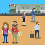 Hipster man travel with public train Royalty Free Stock Photos