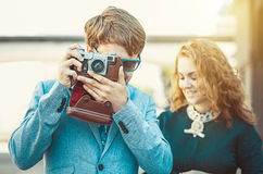 Hipster man wants to take a picture Stock Photography