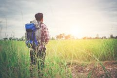 Free Hipster Man With A Backpack On His Shoulders,time To Go Traveling,tourism Concept. Royalty Free Stock Photography - 112831477