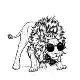 hipster manifesto stampa Cartolina d'auguri con gli animali leo illustrazione di stock