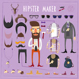 Hipster master creative constructor set. Hipster master accessories constructor with sets of fake mustaches sun glasses and footwear abstract flat vector royalty free illustration