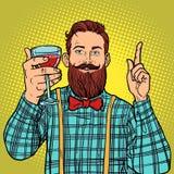 Hipster med ett exponeringsglas av rött vin Arkivbilder