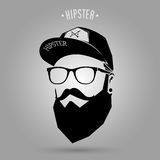 Hipster men cap. Hipster man face with cap on gray background Royalty Free Stock Photo