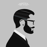Hipster men fashion. Silhouette hipster men fashion on gray background Stock Photos
