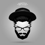 Hipster men hat. Hipster man face with hat on gray background Royalty Free Stock Photo