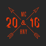 Hipster Merry Christmas and Happy New Year 2016 text monogram, holiday line emblem arrows numbers. Xmas poster background Royalty Free Stock Photography