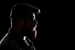 Hipster met dikke baard en een baret royalty-vrije stock afbeelding