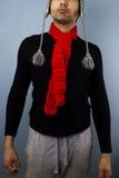 Hipster met rode sjaal Stock Fotografie