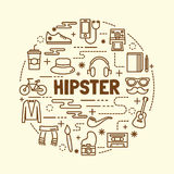 Hipster minimal thin line icons set Stock Photo