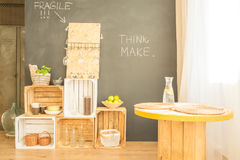 Hipster minimalist dining room Royalty Free Stock Images