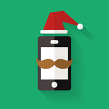 Hipster mobile phone icon with mustache and Christmas hat, vecto. R flat style illustration Royalty Free Stock Image