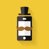 Hipster mobile phone icon with mustache and hat, vector flat sty Royalty Free Stock Photos