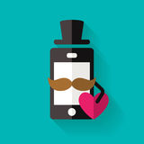 Hipster mobile phone icon with mustache and heart, vector flat s Royalty Free Stock Images