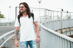 Hipster model with long hair Stock Images
