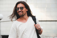 Hipster model with long hair Royalty Free Stock Photography
