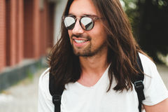 Hipster model with long hair Stock Photos