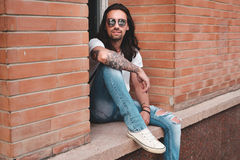 Hipster model with long hair Stock Image