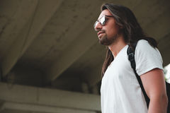 Hipster model with long hair Royalty Free Stock Photos
