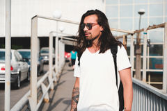 Hipster model with long hair Royalty Free Stock Image