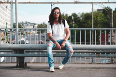Hipster model with long hair Royalty Free Stock Images