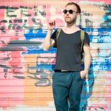 Hipster modern stylish blonde man Royalty Free Stock Photos