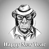 Hipster monkey with hat and  a cigarette. A symbol 2016, happy new year. Vector illustration Royalty Free Stock Image