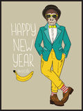 Hipster monkey. Vector hand drawn illustration. Colorful card with Happy New Year 2016 lettering Stock Photos