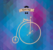 Hipster monocycle. Triangle background Royalty Free Stock Images