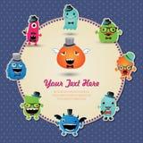 Hipster Monster Banner Card. Vector Illustration Royalty Free Stock Photo