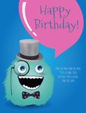 Hipster Monster Birthday Card. Vector Illustration Royalty Free Stock Images
