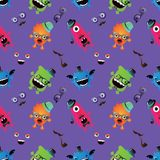 Hipster Monster Seamless Pattern Stock Photography