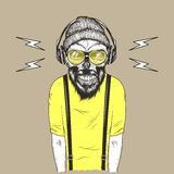 Hipster music fan vector hand drawn illustration Royalty Free Stock Photography