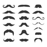 Hipster Mustache Big Set on White Background. Vector Royalty Free Stock Image