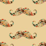 Hipster Mustache Colorful Seamless Pattern Royalty Free Stock Photos