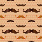 Hipster Mustache on Geometric Seamless Pattern Royalty Free Stock Photography