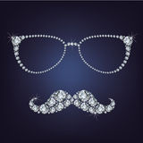 Hipster mustache and glasses made up a lot of diamonds Stock Photo