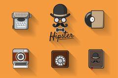 Hipster with mustache. Hipster icon  theme vintage set. Hipster with mustache. Hipster icon  theme set with vintage analog dial phone, record,  instant camera Royalty Free Stock Photos