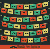Hipster Mustache party decoration. Hipster Mustache party vector decoration - card - template Royalty Free Stock Images