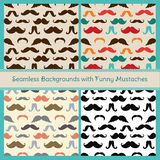 Hipster Mustaches Vector Seamless Patterns Stock Images