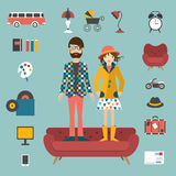 Hipster needs couple style concept. Royalty Free Stock Photo